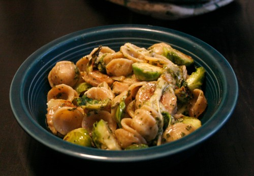 Pesto Pasta with Brussels Sprouts and Apple Chicken Sausage | real food. home made.