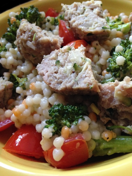 Couscous with Broccoli and Turkey-Zucchini Meatballs | real food. home made.